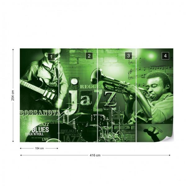 Music Jazz Green Photo Wallpaper Wall Mural