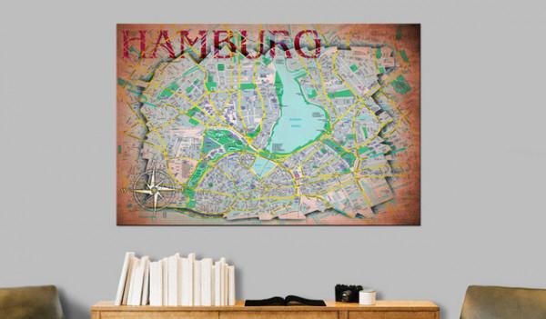 Tablou din plută - Hamburg [Cork Map]