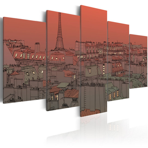 Tablou - Sunset on the background of Eiffel Tower