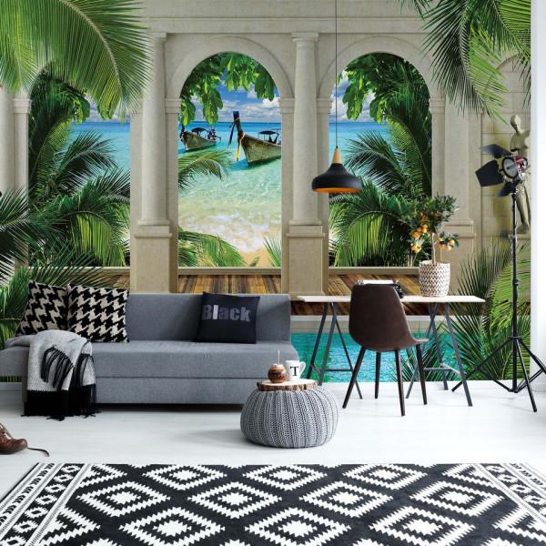 Tropical Beach 3D Archway View Photo Wallpaper Wall Mural