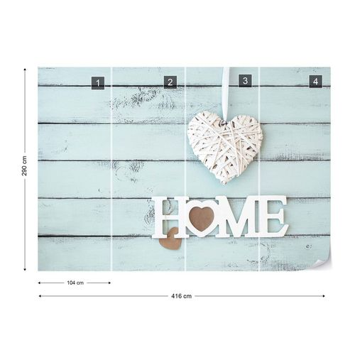 """Vintage Chic """"Home"""" Painted Wooden Planks Texture Light Blue Photo Wallpaper Wall Mural"""