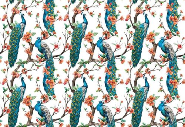 Vintage Peacock Pattern Photo Wallpaper Wall Mural