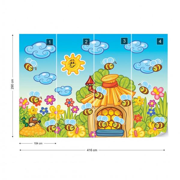 Cartoon Bees And Sunshine Photo Wallpaper Wall Mural