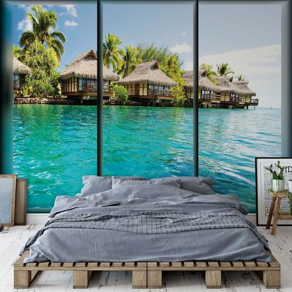 Island Tropical Sea Paradise Window View Photo Wallpaper Wall Mural