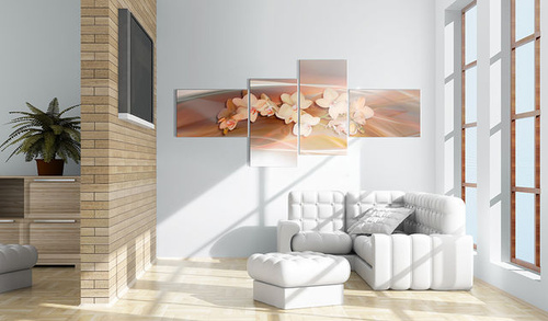 Tablou - A white orchid on fall background