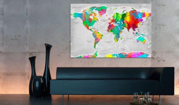 Tablou din plută - Maps: Colourful Finesse [Cork Map]