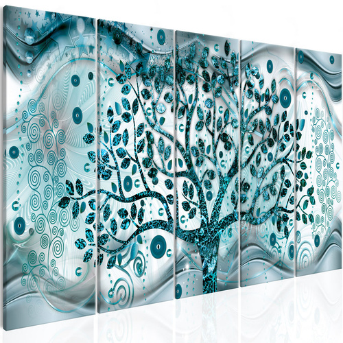 Tablou - Tree and Waves (5 Parts) Blue
