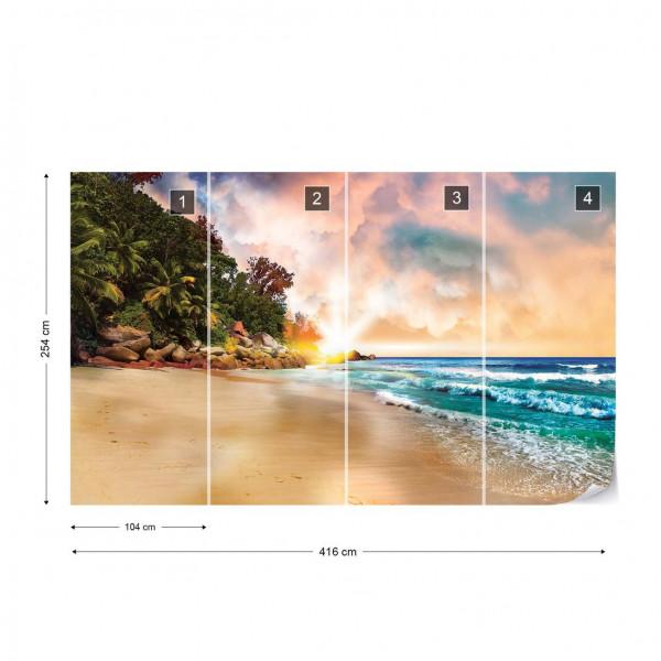 Tropical Beach Sunset Photo Wallpaper Wall Mural