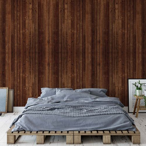Wood Planks Dark Brown Photo Wallpaper Wall Mural