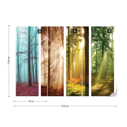 4 Seasons In The Forest Photo Wallpaper Wall Mural