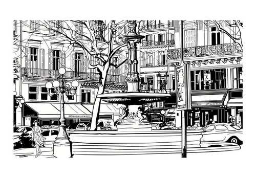 Poze Fototapet - Sketch of parisian fountain