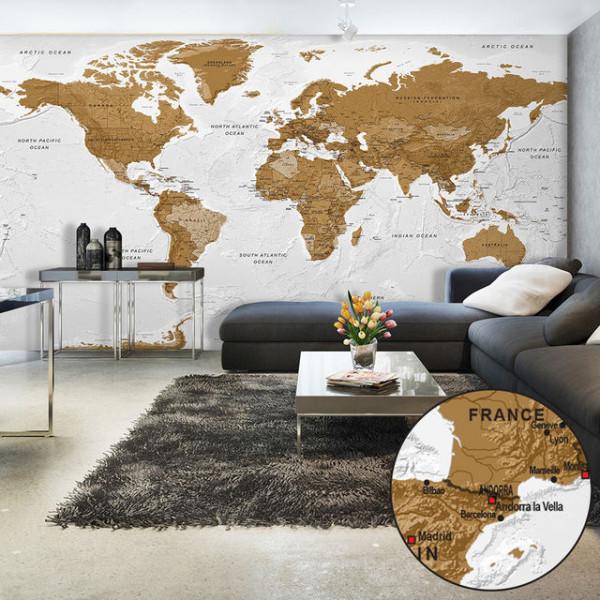 Fototapet XXL - World Map: White Oceans II