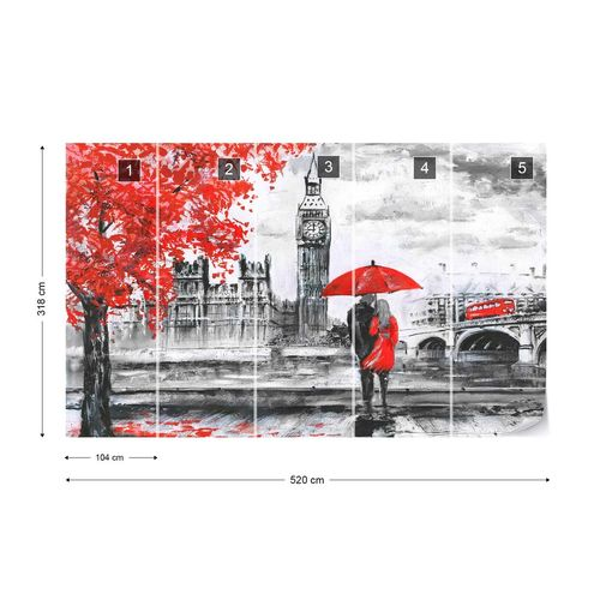 London Red Black White Art Painting Photo Wallpaper Wall Mural