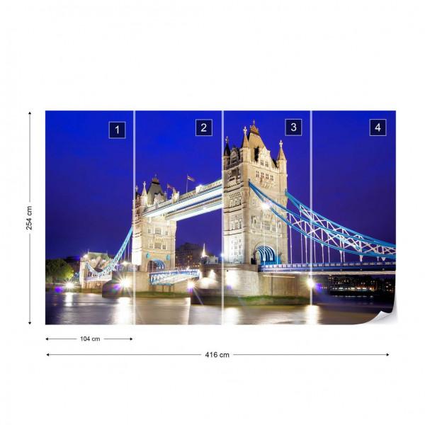London Tower Bridge At Night Photo Wallpaper Wall Mural