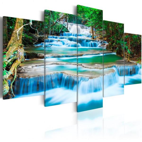 Tablou - Blue Waterfall in Kanchanaburi, Thailand