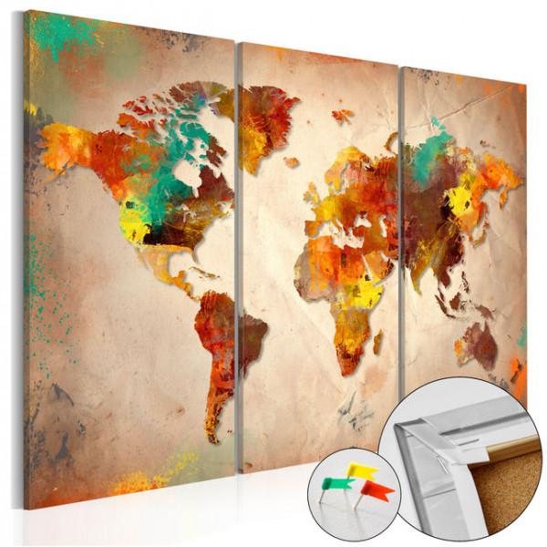 Tablou din plută - Painted World [Cork Map]