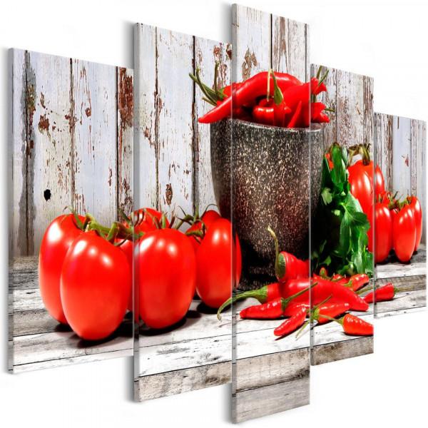 Tablou - Red Vegetables (5 Parts) Wood Wide