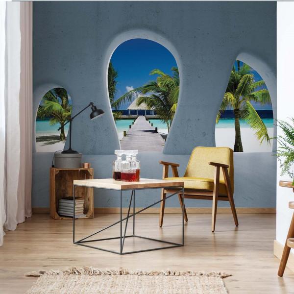 Tropical Beach 3D Concrete Arches View Photo Wallpaper Wall Mural