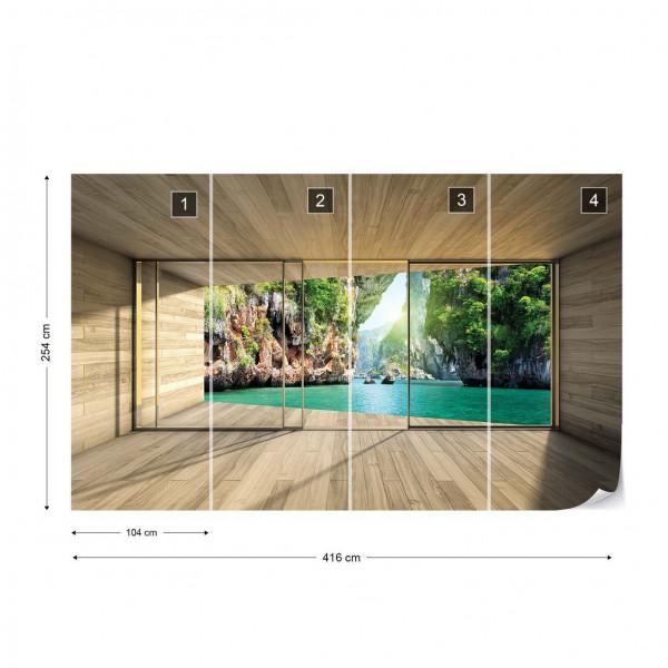 Tropical Lagoon 3D Modern Window View Photo Wallpaper Wall Mural