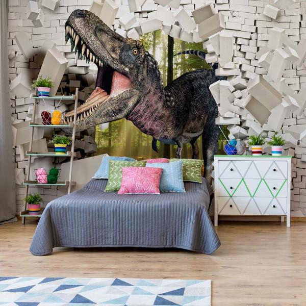3D Dinosaur Bursting Through Brick Wall Photo Wallpaper Wall Mural