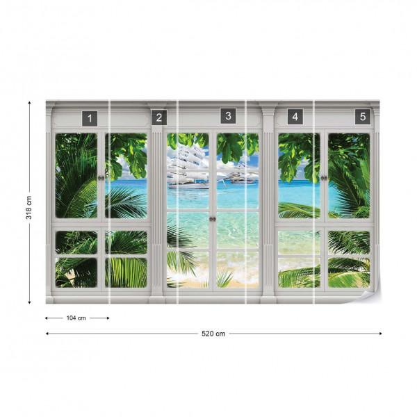 3D Door View Tropical Beach Photo Wallpaper Wall Mural