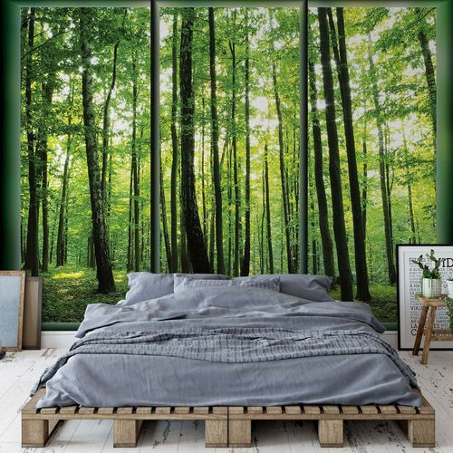 Forest Trees Green Window View Photo Wallpaper Wall Mural