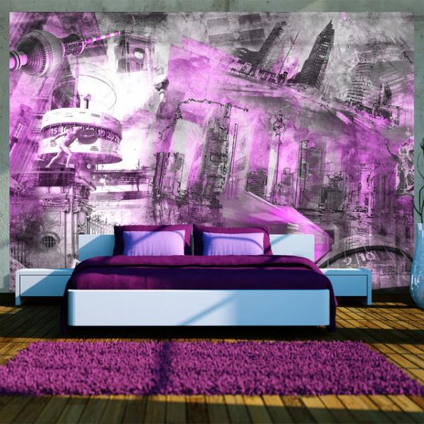 Fototapet - Berlin - collage (violet)