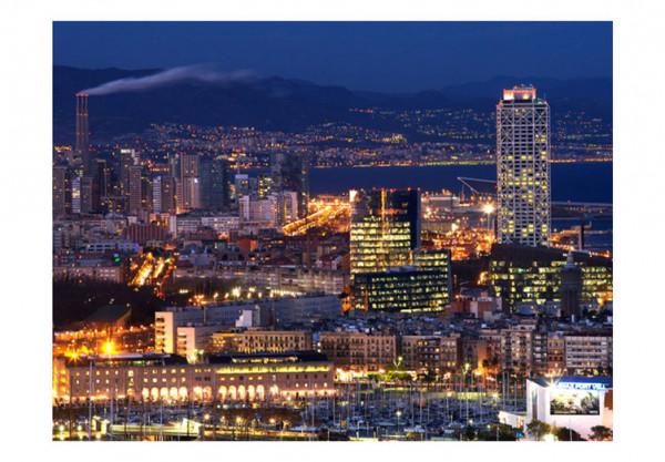 Fototapet - Night city landscape - Barcelona