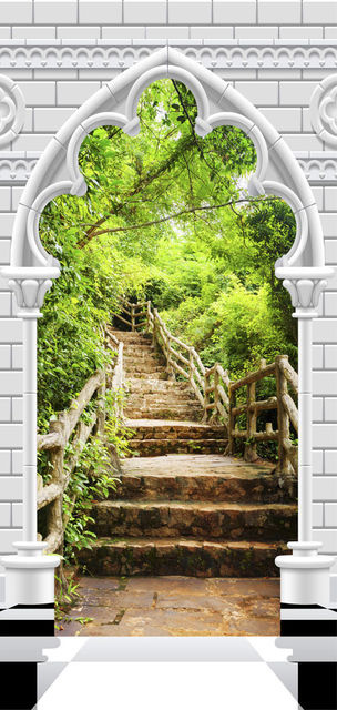 Fototapet pentru ușă - Photo wallpaper - Gothic arch and stone staircase I