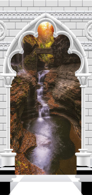 Fototapet pentru ușă - Photo wallpaper - Gothic arch and waterfall V