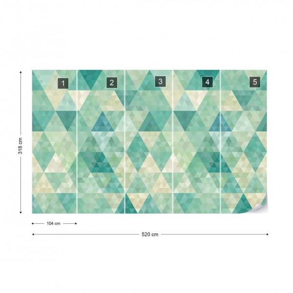 Green Modern Geometric Pattern Photo Wallpaper Wall Mural