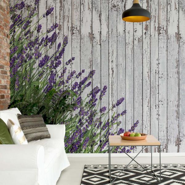Lavender Rustic Wood Planks Vintage Design Photo Wallpaper Wall Mural