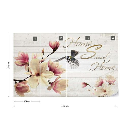 "Magnolia Flowers Wood Planks ""Home Sweet Home"" Photo Wallpaper Wall Mural"
