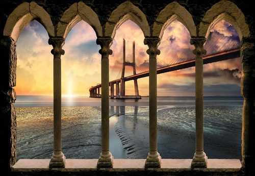 Modern Bridge Stone Archway View Photo Wallpaper Wall Mural