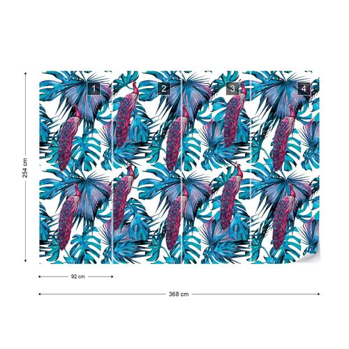 Modern Tropical Pattern Photo Wallpaper Wall Mural