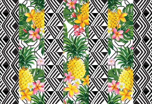 Modern Tropical Pineapples Photo Wallpaper Wall Mural
