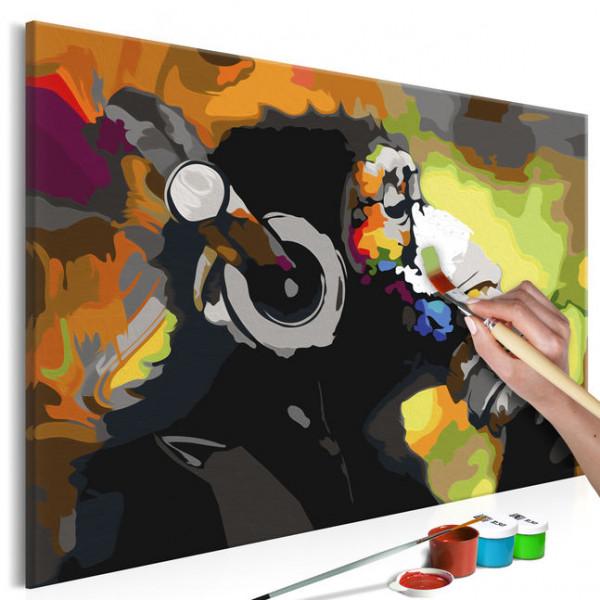 Pictatul pentru recreere - Monkey In Headphones (Multi Colour)