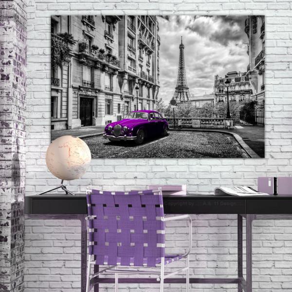 Tablou - Car in Paris (1 Part) Violet Wide