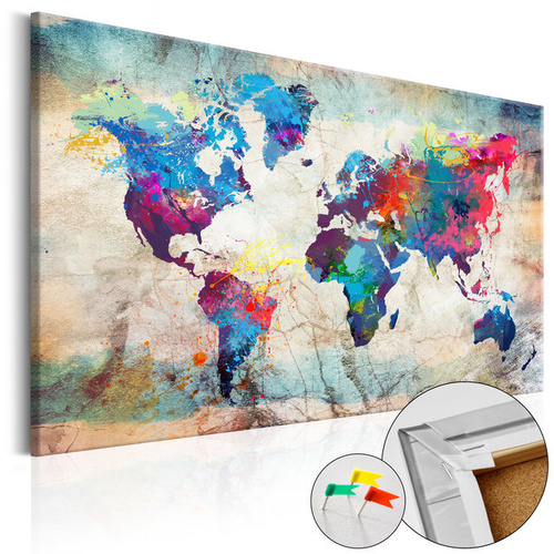 Tablou din plută - World Map: Colourful Madness [Cork Map]