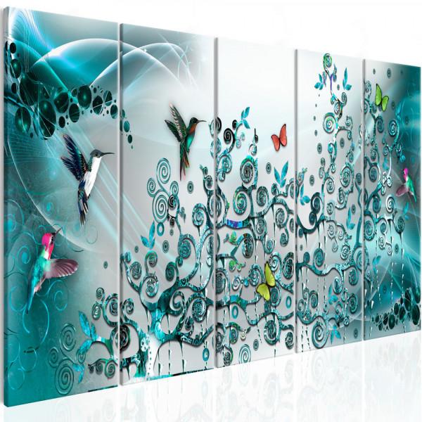Tablou - Hummingbirds Dance (5 Parts) Turquoise Narrow