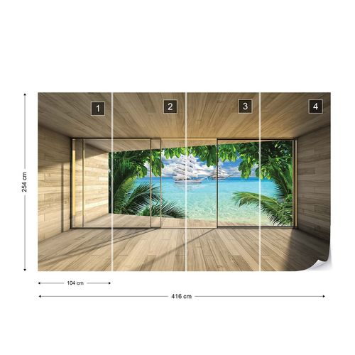 Tropical Beach 3D Modern Window View Photo Wallpaper Wall Mural