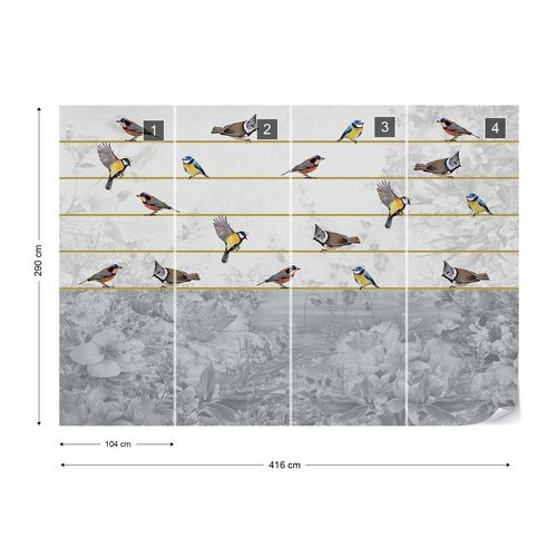 Vintage Chic Birds And Floral Design Photo Wallpaper Wall Mural