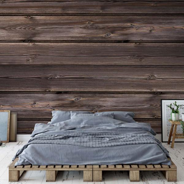 Wood Plank Texture Dark Brown Photo Wallpaper Wall Mural