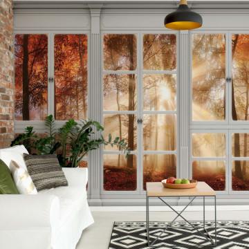 3D Door View Autumn Forest Photo Wallpaper Wall Mural