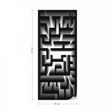 3D Geometric Black And White Maze Photo Wallpaper Wall Mural