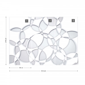 3D Grey White Circles Photo Wallpaper Wall Mural