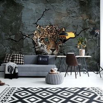 3D Leopard Concrete Wall Photo Wallpaper Wall Mural