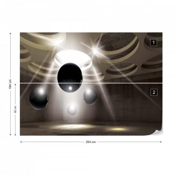 3D Modern Design Black Spheres Photo Wallpaper Wall Mural
