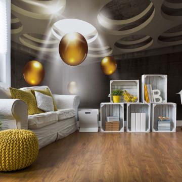 3D Modern Design Gold Spheres Photo Wallpaper Wall Mural