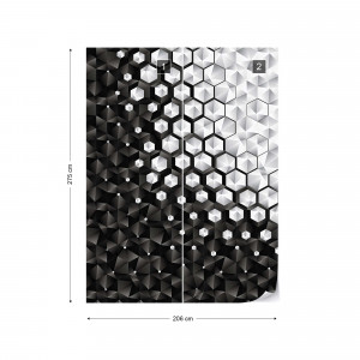 3D Silver And Black Hexagonal Pattern Photo Wallpaper Wall Mural